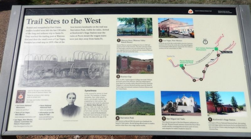 Trail Sites to the West Marker image. Click for full size.