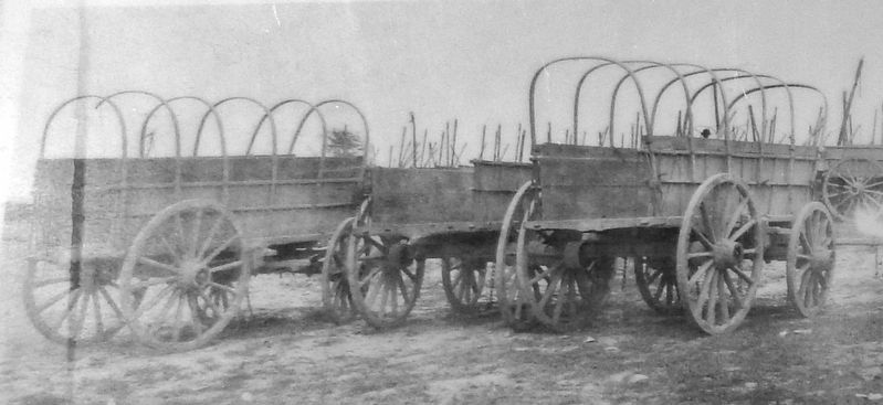 Marker detail: Trail Wagons image. Click for full size.