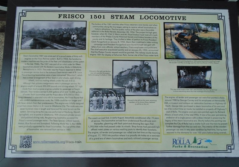 Frisco 1501 Steam Locomotive Marker image. Click for full size.