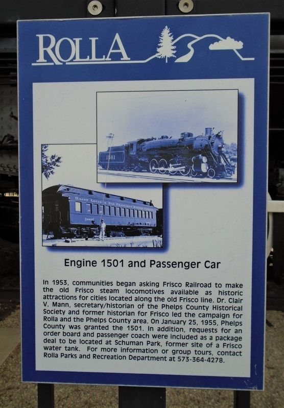 Engine 1501 and Passenger Car Marker image. Click for full size.