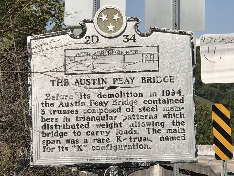 The Austin Peay Bridge Marker image. Click for full size.