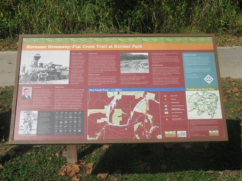 Meramec Greenway - Flat Creek Trail at Kircher Park Marker image. Click for full size.