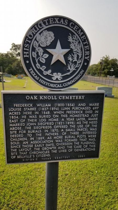 Oak Knoll Cemetery Marker image. Click for full size.