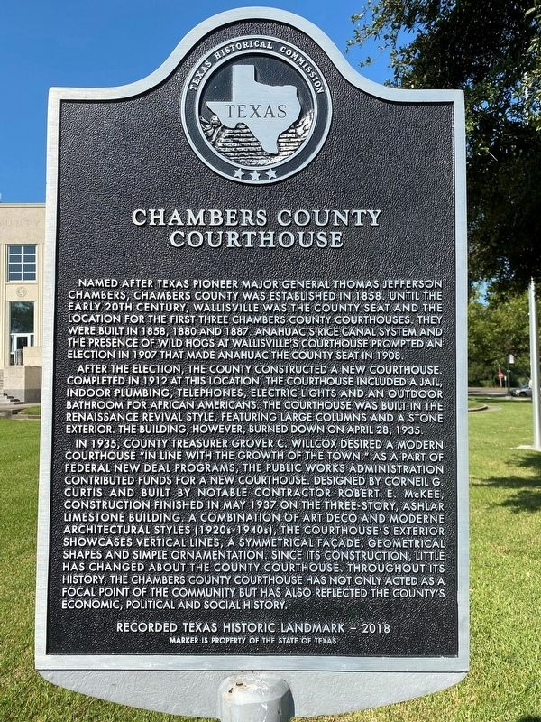 Chambers County Courthouse Marker image. Click for full size.