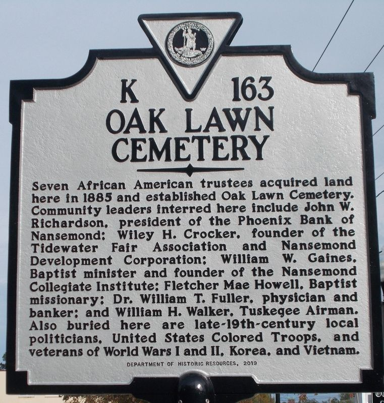Oak Lawn Cemetery Marker image. Click for full size.