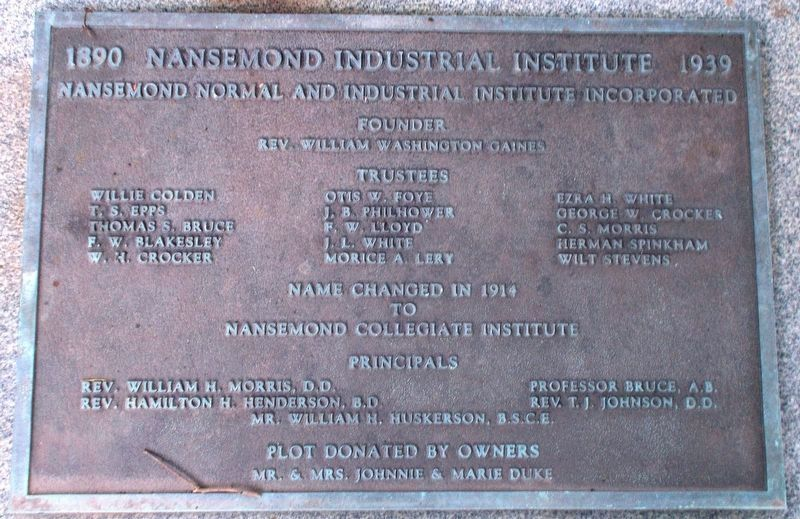 Nansemond Industrial Institute Marker image. Click for full size.