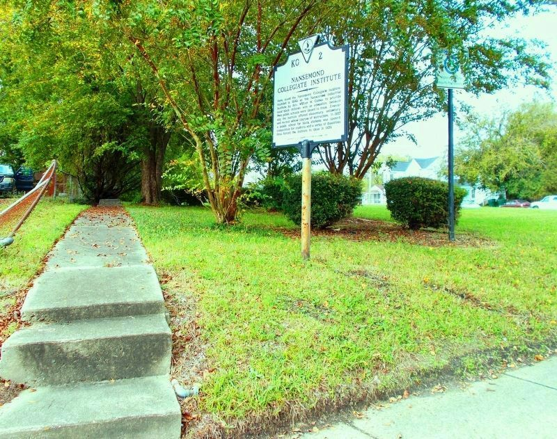 <b>Exhibit B</b> – Nansemond Industrial Institute and its companion marker. image. Click for full size.