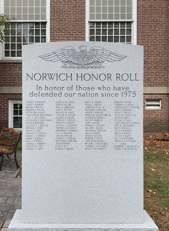 Norwich Honor Roll Marker image. Click for full size.