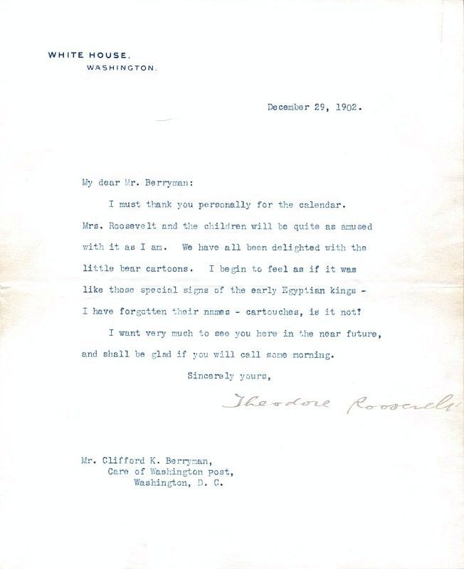 Letter from Theodore Roosevelt to cartoonist Clifford Berryman <i>(click on image to enlarge)</i> image. Click for full size.