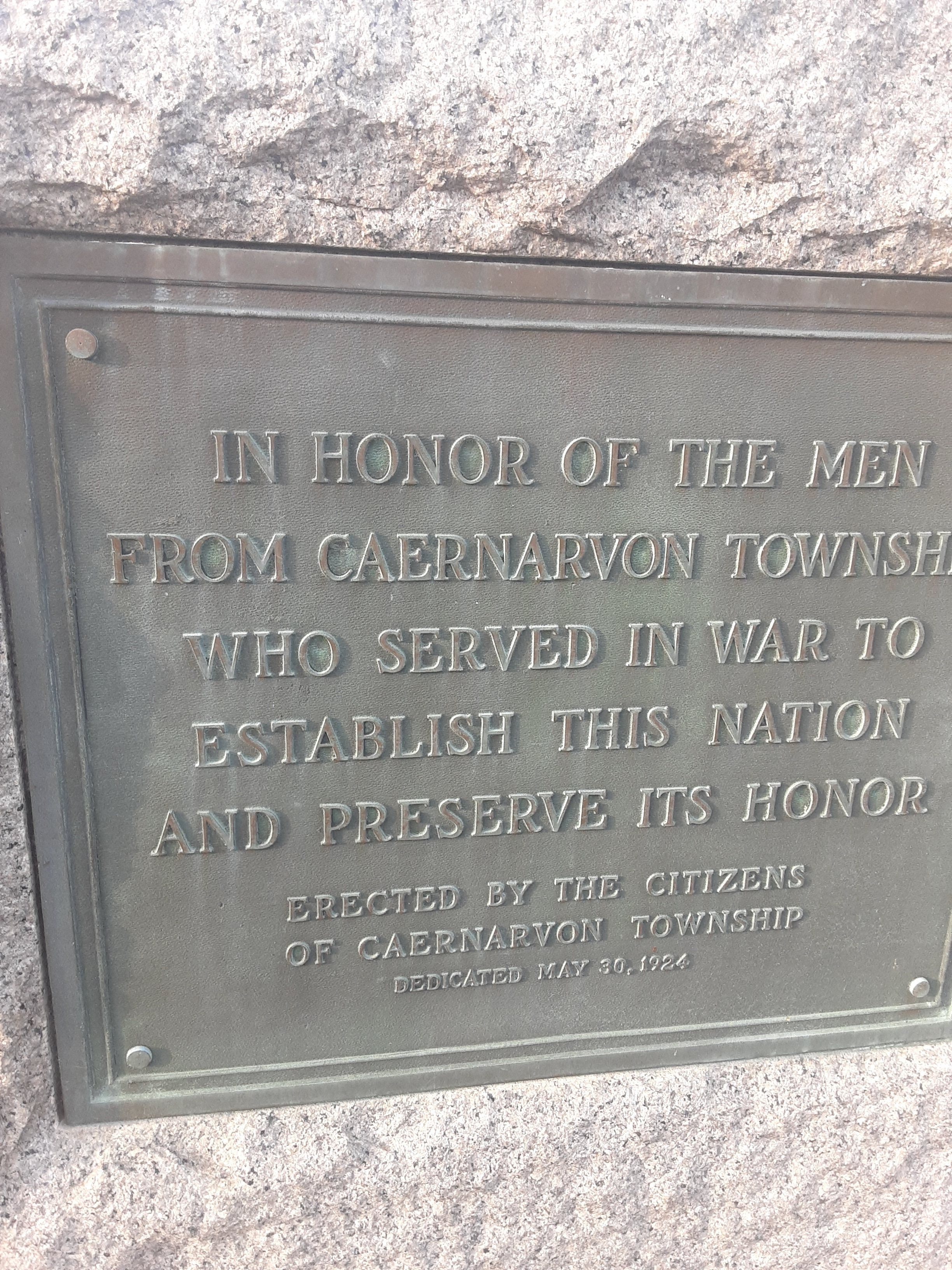 In Honor of the Men from Caenarvon Township Marker