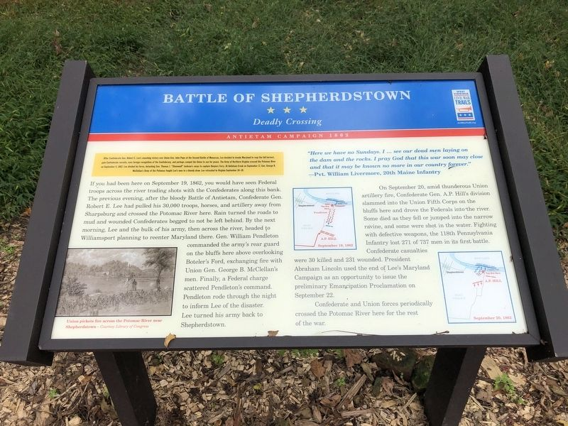 Battle of Shepherdstown Marker image. Click for full size.