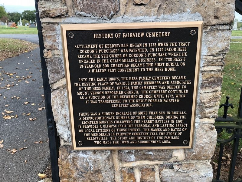 History of Fairview Cemetery Marker image. Click for full size.