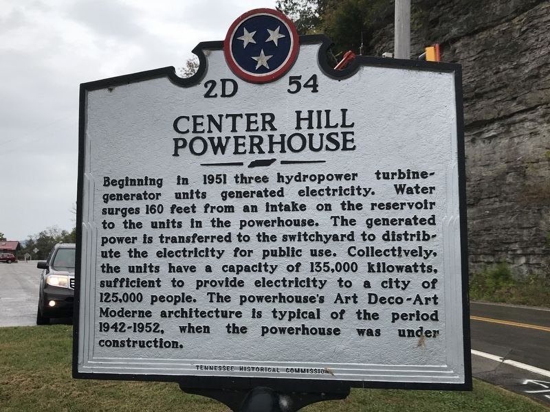 Center Hill Dam / Center Hill Powerhouse Marker image. Click for full size.