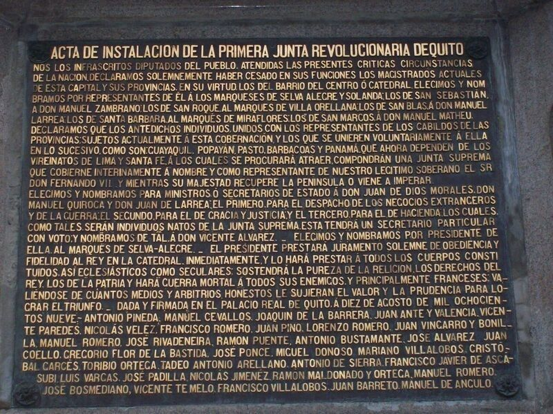 Act of the First Revolutionary Government of Quito Marker image. Click for full size.