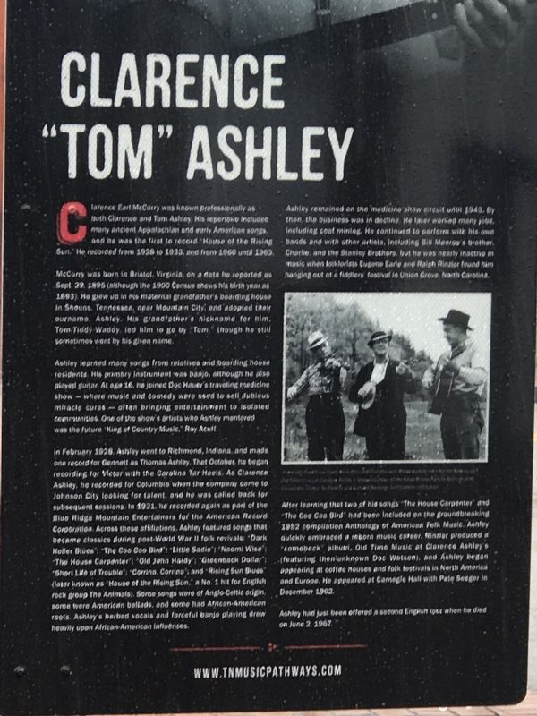 "Clarence ""Tom"" Ashley Marker image. Click for full size."