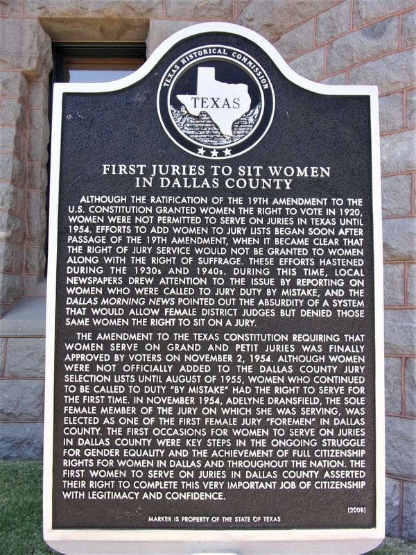First Juries to Sit Women in Dallas County Marker image. Click for full size.