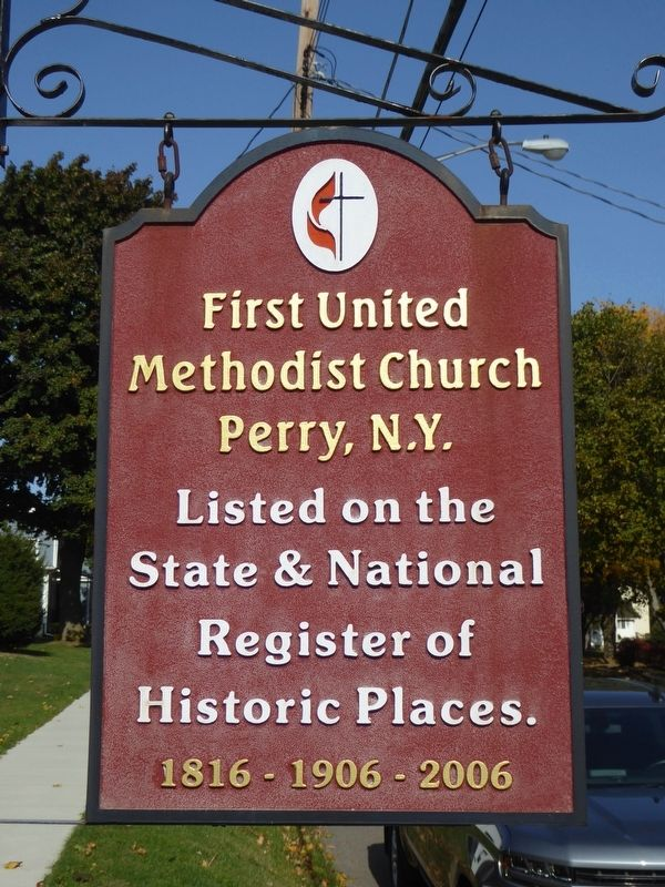 First United Methodist Church Perry, N.Y. Marker image. Click for full size.
