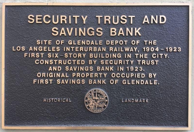 Security Trust and Savings Bank Marker image. Click for full size.
