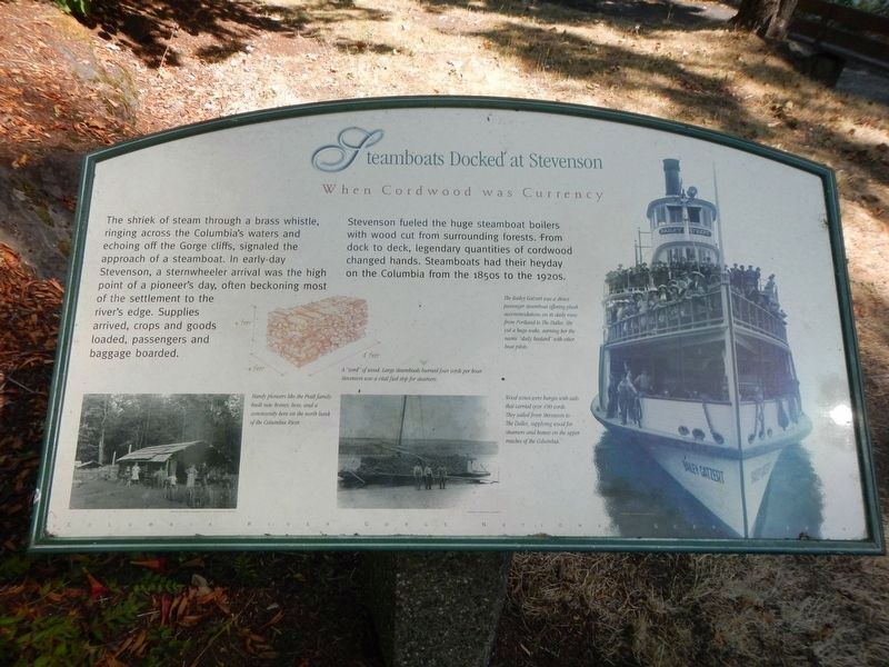 Steamboats Docked at Stevenson Marker image. Click for full size.