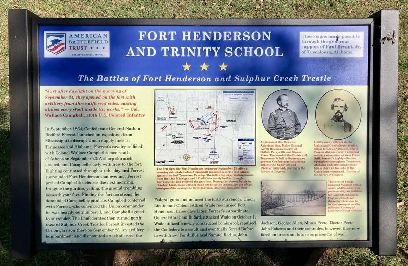 The Battles of Fort Henderson and Sulphur Creek Trestle Marker image. Click for full size.