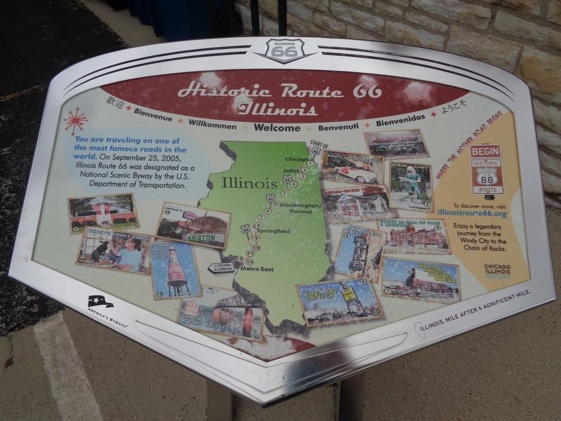 Historic Route 66 Illinois Marker image. Click for full size.