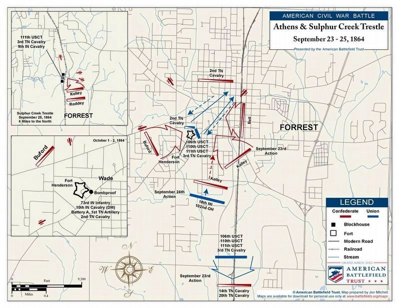 Battles of Fort Henderson and Sulphur Creek Trestle map. image. Click for full size.