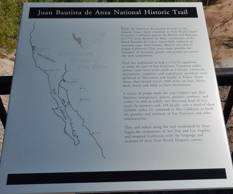 Juan Bautista de Anza National Historic Trail Marker image. Click for full size.