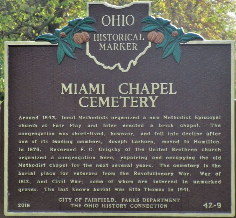 Miami Chapel Cemetery side of the marker image. Click for full size.