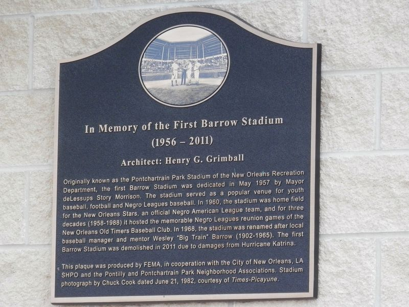In Memory of the First Barrow Stadium Marker image. Click for full size.