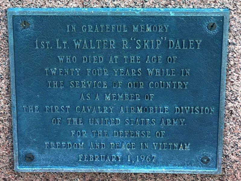 "1st. lt. Walter R. ""Skip"" Daley Marker image. Click for full size."