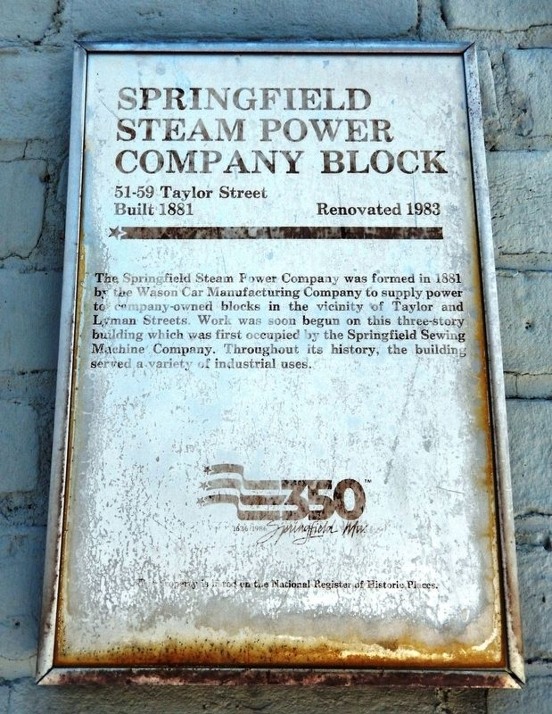 Springfield Steam Power Company Block Marker image. Click for full size.