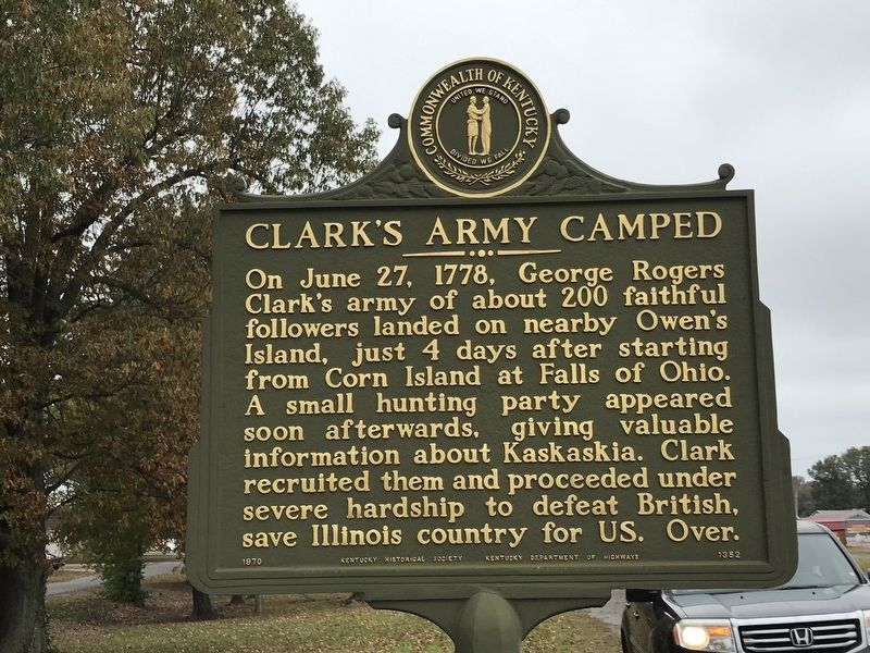 Clark's Army Camped / Clark's Land Marker image. Click for full size.