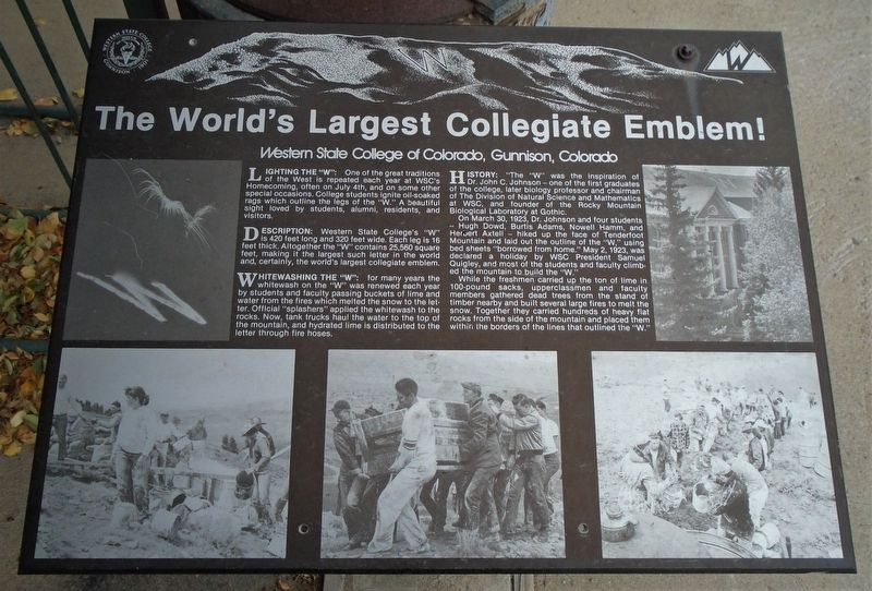 The World's Largest Collegiate Emblem! Marker image. Click for full size.