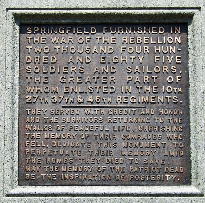Springfield Soldiers and Sailors Monument<br>(<i>west plaque</i>) image. Click for full size.