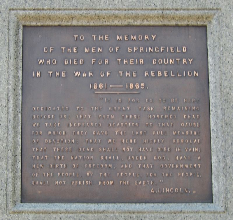 Springfield Soldiers and Sailors Monument<br>(<i>east plaque</i>) image. Click for full size.