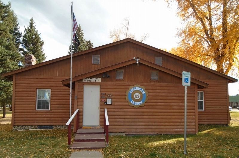 Bruce-Frew American Legion Post No. 54 Hut and History Markers (to right of door) image. Click for full size.
