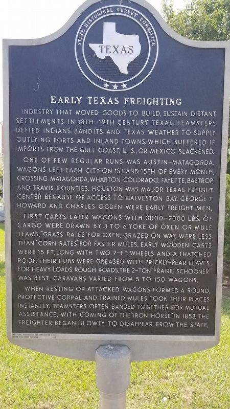 Early Texas Freighting Marker image. Click for full size.