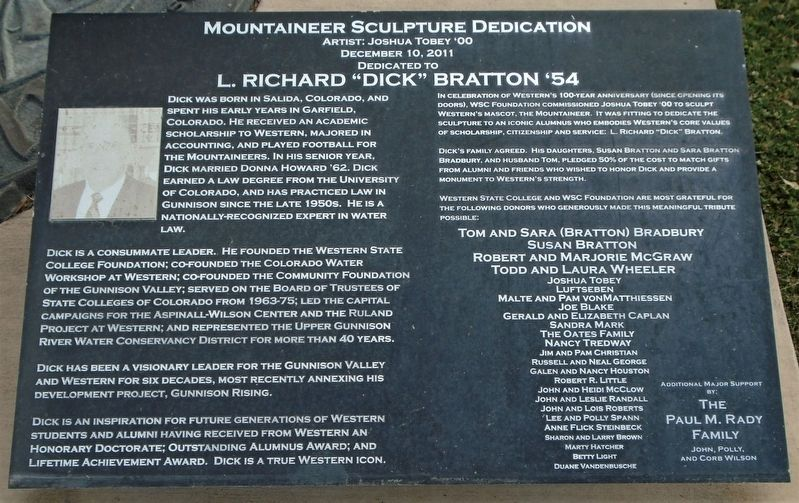 "Mountaineer Sculpture Dedication/L. Richard ""Dick"" Bratton '54 Marker image. Click for full size."