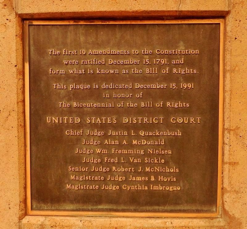 The Bill of Rights Marker (<i>adjacent dedication plaque</i>) image. Click for full size.