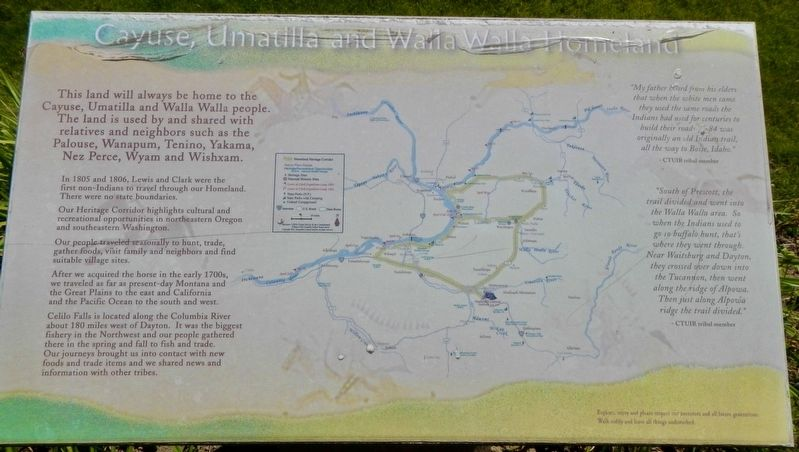 Cayuse, Umatilla, and Walla Walla Homeland Marker image. Click for full size.