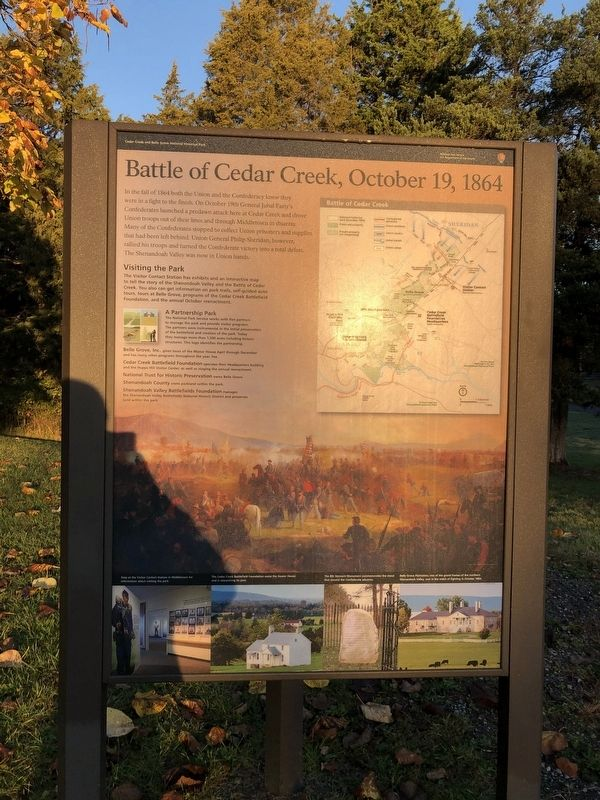 Battle of Cedar Creek, October 19, 1864 side of the marker image. Click for full size.