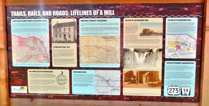 Trails, Rails, and Roads: Lifelines of a Mill Marker image. Click for full size.