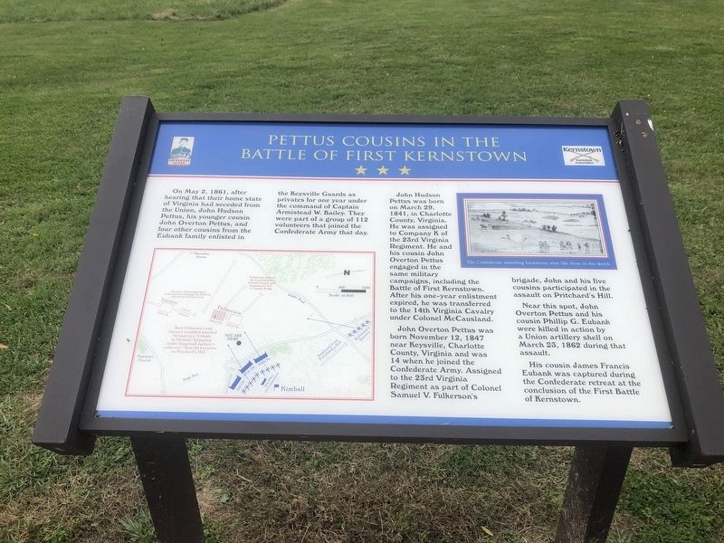 Pettus Cousins in the Battle of First Kernstown Marker image. Click for full size.