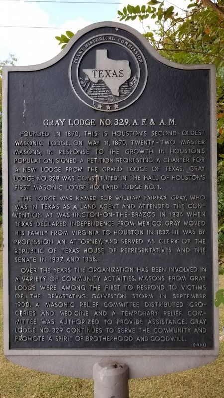 Gray Lodge No. 329, A.F.& A.M. Marker image. Click for full size.
