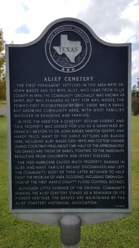 Alief Cemetery Marker image. Click for full size.