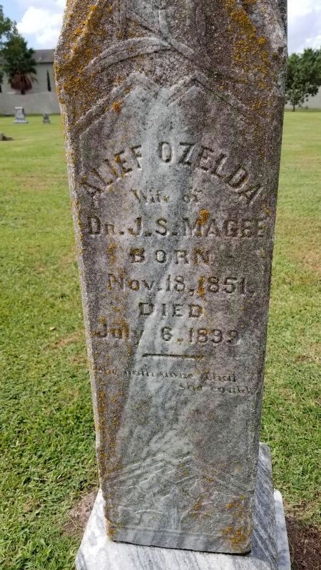 Alief Ozelda Magee tombstone image. Click for full size.