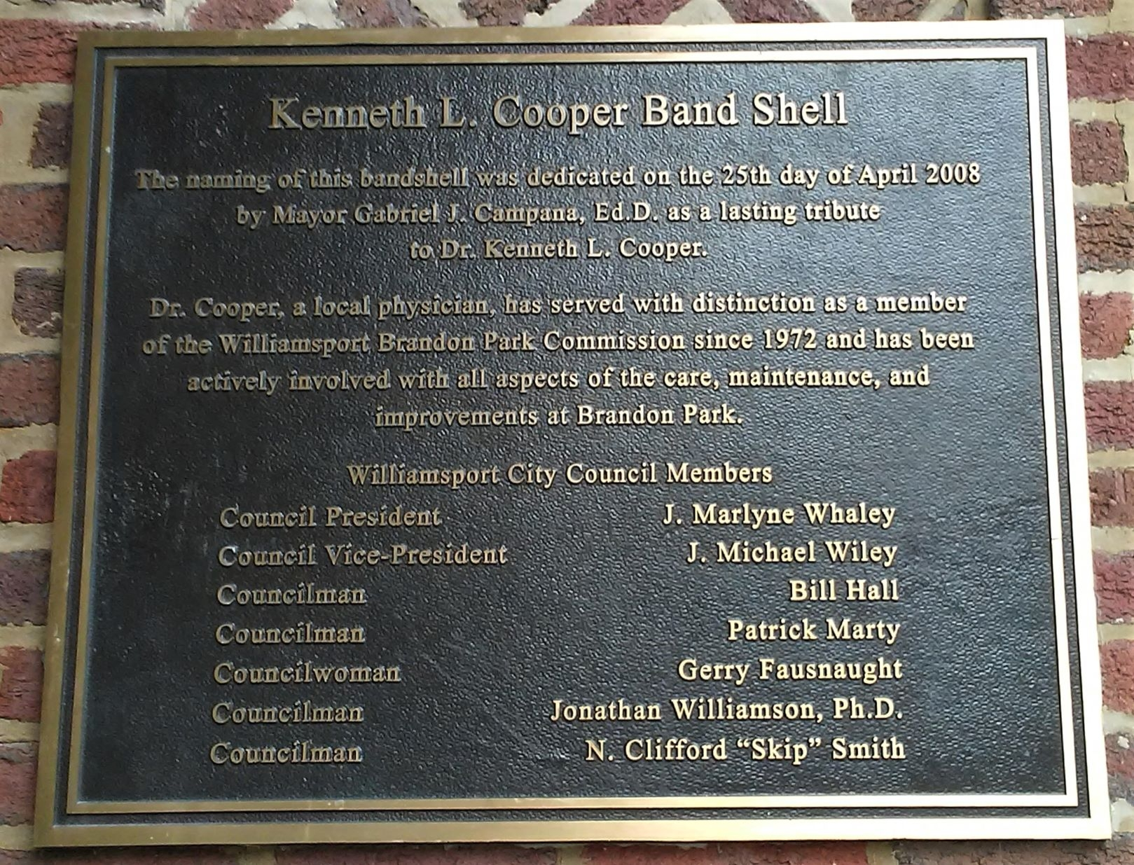 Kenneth L. Cooper Band Shell Marker