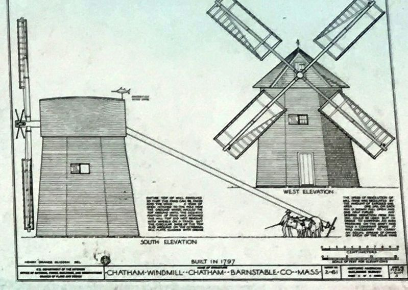 Marker photo: Architectural Diagram of the Godfrey Windmill image. Click for full size.