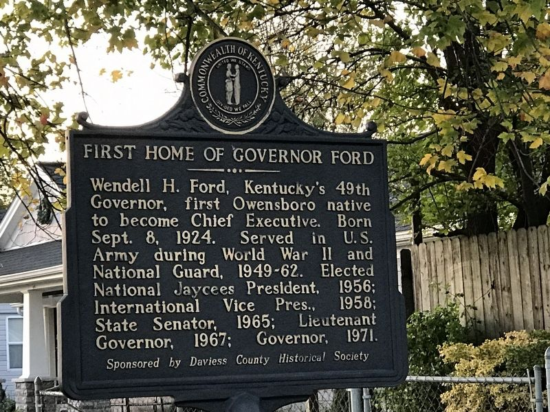First Home of Governor Ford Marker image. Click for full size.