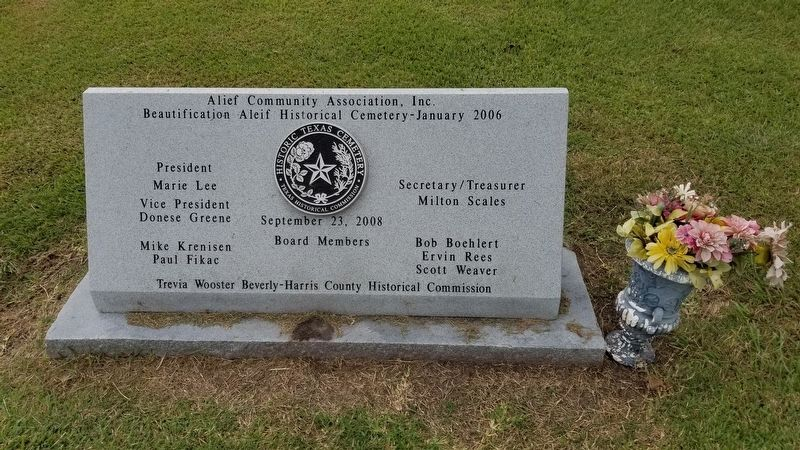 Additional Alief Cemetery Marker image. Click for full size.